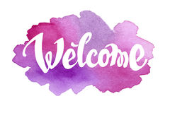 Welcome hand drawn lettering against watercolor Royalty Free Stock Photography