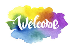 Welcome hand drawn lettering against watercolor Royalty Free Stock Image
