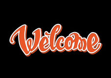 Welcome hand drawn lettering Stock Photos