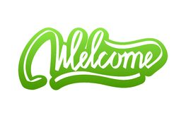 Welcome hand lettering calligraphy sticker Stock Photography