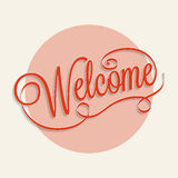 Welcome. Hand lettering calligraphy for your design Stock Photo