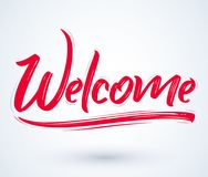 Welcome - Hand lettering vector illustration banner Stock Image