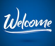 Welcome - Hand lettering vector illustration banner Stock Photos
