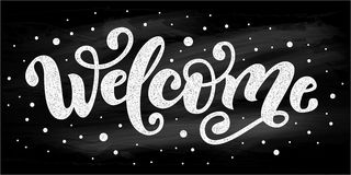 Welcome. Hand Lettering word. Handwritten modern brush typography sign. Black and white. Vector illustration vector illustration