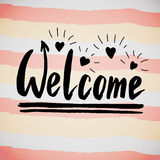 Welcome handwriting phrase. Creative calligraphic poster or postcard. Vector illustration. Stock Photo