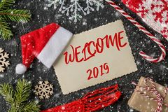 WELCOME 2019 handwritten inscription. Winter holiday composition stock photos