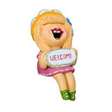 Welcome happy girl clay doll sitting isolated Stock Photo