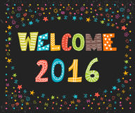 Welcome 2016. Happy New Year. Cute greeting card. Happy Holidays Royalty Free Stock Photography
