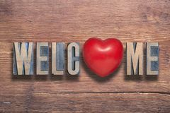 Welcome heart wooden Royalty Free Stock Image