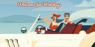 Welcome for holidays retro vector illustration vector illustration