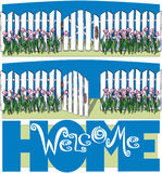 Welcome Home. White Picket Fence, welcome home, gate, real estate Royalty Free Stock Photography
