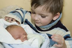 Welcome home. Newborn and baby portrait Royalty Free Stock Photo