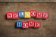 Welcome Home alphabet blocks Stock Photos