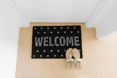 Welcome home on black mat Royalty Free Stock Image