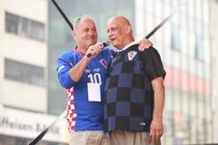 Welcome home ceremony celebrities. ZAGREB, CROATIA - JULY 16, 2018 : Croatia National Football Team welcome home celebration. Ljubo Cesic Rojs Croatian retired stock photo
