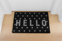 Welcome home doormat with close door Royalty Free Stock Photos
