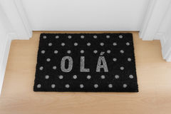 Welcome home doormat with close door Stock Image