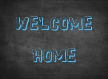 Welcome home greeting happy family children letters plastic royalty free stock photo
