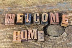 Welcome home greeting letterpress Royalty Free Stock Photography