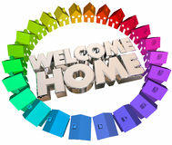Welcome Home Greeting Return Back Houses Stock Image