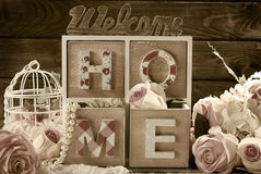Welcome home still life in sepia Royalty Free Stock Images