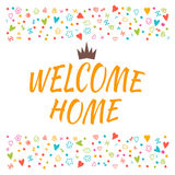 Welcome home text with colorful design elements. Cute postcard. Stock Image