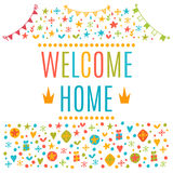Welcome home text with colorful design elements. Cute postcard Stock Photography