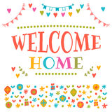 Welcome home text with colorful design elements. Decorative lett Royalty Free Stock Photo