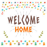 Welcome home text with colorful design elements. Greeting card. Royalty Free Stock Photo