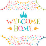Welcome home text with colorful design elements. Greeting card. Stock Image