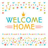 Welcome home text with colorful design elements. Postcard. Cute Royalty Free Stock Images