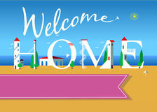 Welcome home. Travel card Stock Images