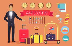 Welcome Hotel Services on Vector Illustration. Welcome hotel service, administrator greeting clients, icons of bed, bath and towels, clock showing time in Stock Photos