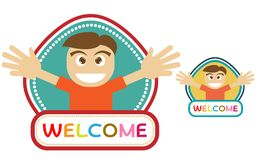 Welcome cartoon badge Royalty Free Stock Photography