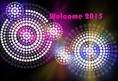 Welcome 2015. A illustration based on aboriginal style of dot painting depicting New Year Eve Stock Photos