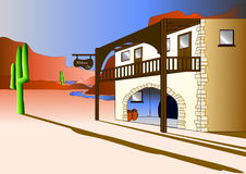 Welcome Inn. A vector illustration of a welcoming inn set in a desert Royalty Free Stock Photography