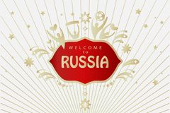 2018 World Cup Russia soccer sign. 2018 World Cup Football Welcome to Russia lettering, gold logo, abstract folk art elements red background, vector illustration Vector Illustration