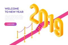 Welcome 2019 Isometric Creative numbers. Red carpet to the 2019 New Year. Path to New Year. Creative design for your greetings. Card, flyers, posters, brochure vector illustration