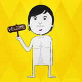 Welcome Joke Cartoon Character. Character a person who is welcome Royalty Free Stock Photos