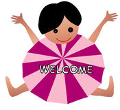 Welcome kid and umbrella. Kid ans english word welcome on a white background vector illustration