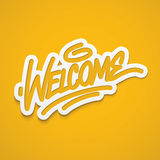 Welcome label lettering Stock Image