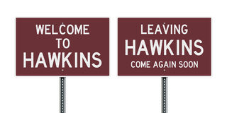 Welcome and leaving road sign of Hawkins Stock Images