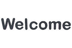 Welcome lettering. A welcome banner made of rubber letters Royalty Free Stock Image