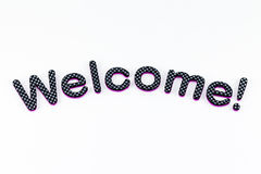 Welcome lettering. A welcome banner made of rubber letters Royalty Free Stock Photo