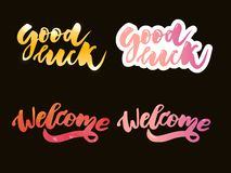 Welcome lettering text. Modern calligraphy style illustration. Set. Welcome lettering text. Modern calligraphy style illustration vector home message word hand vector illustration