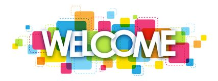 WELCOME letters banner. WELCOME overlapping letters banner on colorful squares background stock illustration