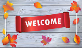 Welcome logo fall leaves on wood wallpaper Royalty Free Stock Images