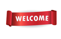Welcome logo red curled ribbon banner Stock Photos