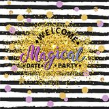 Welcome Magical Party text isolated on striped background. Hand drawn lettering Magical as logo, patch, sticker, badge, icon. Template for party invitation Royalty Free Stock Photo