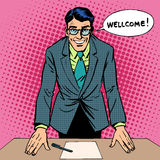 Welcome man. Work study retro style pop art Royalty Free Stock Photo